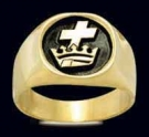 3304-GP S.Silver 18K Gold Plated Templar and Crown Masonic Ring