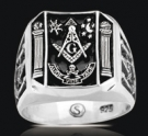 3486 Solid Sterling Silver (aude,vide,tace) Masonic Ring