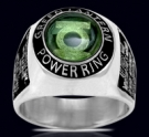 3617  Sterling Silver Oath Green Lantern Ring