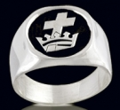 3304  Solid Sterling Silver Templar and Crown Masonic Ring
