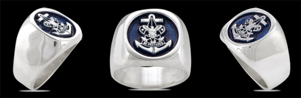 3577 Solid Sterling Silver Boy Scouts Navy Ring