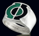 3142 Sterling Silver Green Lantern  Ring