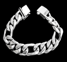 2347F S. Silver Heavy Figaro Bracelet Weight 100 grams