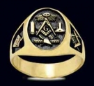 3378-GP Sterling Silver 18K Gold Plated Masonic Ring