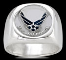 3583 Solid Sterling Silver US Air Force Emblem Ring