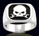 3454 Solid Sterling Silver Biker Skull Ring