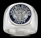 3581 Solid Sterling Silver US Navy Ring