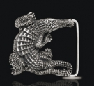 BB5203 Sterling Silver Big Alligator Belt Buckle