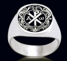 3462 Solid Sterling Silver Chi-Rho Monogram of Christ Ring