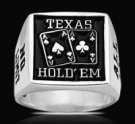 3500 Solid Sterling Silver Texas Holdem Mens Ring
