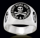 3305 Solid Sterling Silver Skull Masonic Ring