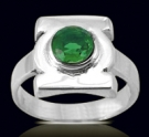 3349 Sterling Silver Green Lantern Ring